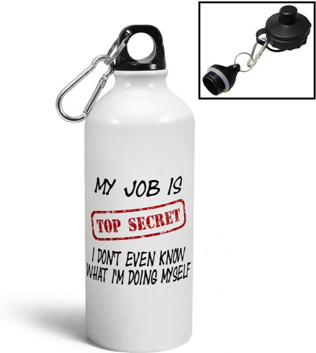 My Job is Top Secret Funny Aluminium Sports Water Bottle/Canteen